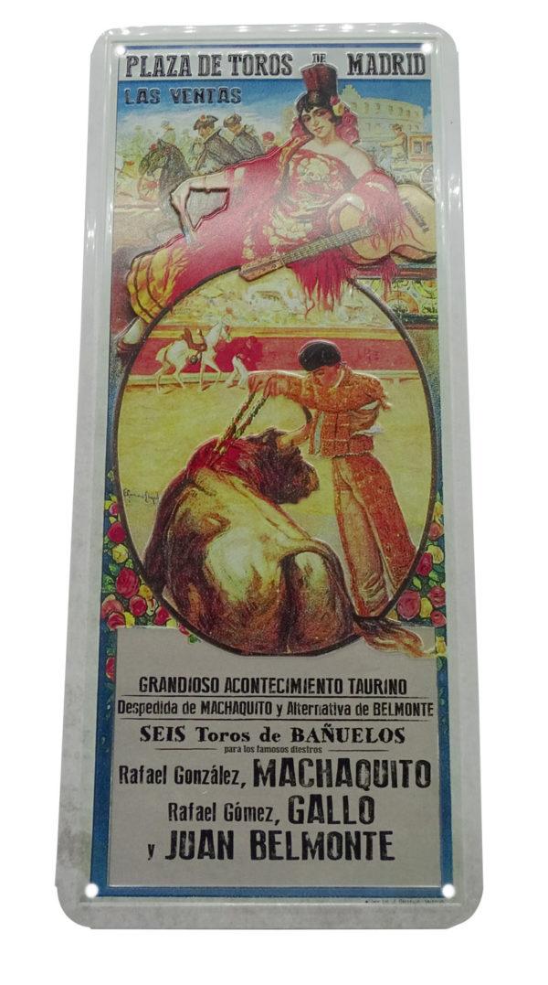Placa Metal vintage Cartel de Toros